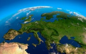 View on Europe from a height of satellites