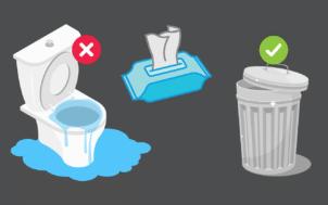 Aidons les professionnels de l'eau : aucun déchet dans les toilettes !